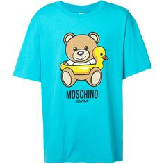 Moschino duck and teddy T-shirt (€205) ❤ liked on Polyvore featuring men's fashion, men's clothing, men's shirts, men's t-shirts, blue, mens straight hem shirts, mens short sleeve shirts and mens short sleeve t shirts