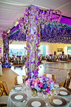 White and lavender color inspiration. Wedding ceremony and reception