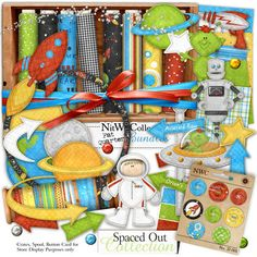 Digital scrapbooking space and card making astronaut kit FQB - Spaced Out Collection