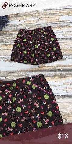 "Talbots's Kids Pony Corduroy Skirt 18m Girl's adorable printed skirt.  18m.  Brown.  Horses, Paisley, Apples, Flowers, Trees, & Butterflies.  Length 9"". Talbots Bottoms Skirts"