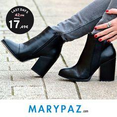 ►►► LAST DAYS FROM 5,99 € Aprovéchate de los ÚLTIMOS DÍAS desde 5,99 € en muchos de nuestros artículos en TIENDA y ONLINE www.marypaz.com ¡ Os deseamos un feliz #juernes ! #shoelfie #rebajasmarypaz   Compra ya este BOTÍN DE TACÓN BLOQUE REBAJADO ►http://www.marypaz.com/tienda-online/botin-de-tacon-ancho-con-elastico-53469.html?sku=72596-35