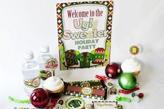 Ugly Christmas Sweater Party Printable Bundle, includes 23 different printables to help make your Ugly Sweater Party even more spectacular!