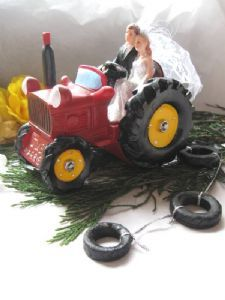 Bride and Groom on a Red Tractor Cake Topper