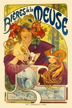 Biere de la Meuse poster by Mucha 1897 France - Beautiful Vintage Posters Reproductions. French beer poster features a woman in a colorful flower hat leaning on a pillar holding a mug of beer. Giclee Advertising Print. Art nouveau posters prints.