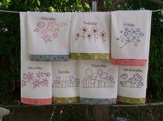 Embroidery Pattern for 7 flower tea towels, one for each day of the week. different flower patterns -hand embroidery -can be done as red work Towel Embroidery, Hand Work Embroidery, Embroidered Towels, Embroidery Applique, Cross Stitch Embroidery, Embroidery Patterns, Flower Shop Design, Gift Wrapping Bows, Tea Towels