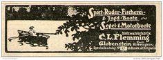Original-Werbung/ Anzeige 1910 - BOOTE / HOLZWARENFABRIK FLEMMING GLOBENSTEIN - ca 80 x  25 mm