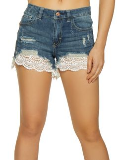 ALMOST FAMOUS JR DENIM SHORTY SHORTS RAW EDGE DESTRUCTED HIGH RISE NEW