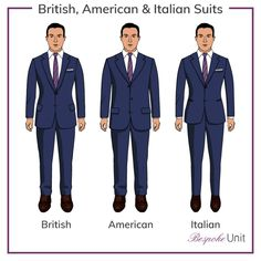 Suits Styles The Difference Between British, American & Italian Suit Cuts is part of Suit fashion - Our guide to British, America and Italian suits explains each of these suit cut styles including their unique characteristics and fascinating histories Mens Suit Fit, Slim Fit Suits, Mens Suits, Grey Suits, Fit Men, Mens Style Guide, Men Style Tips, Suit Guide, Suit Supply