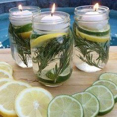Summer Mason Jar Luminaries - These are not only easy and beautiful they are also a chemical free DIY Bug Repellent! Mason Jar Crafts, Mason Jar Diy, Jelly Jar Crafts, Jelly Jars, Pot Pourri, Brit, Citronella Candles, Tea Candles, Deck Decorating