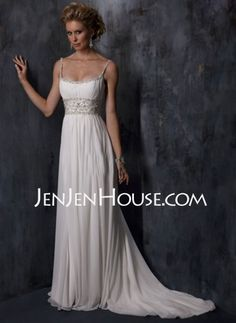 Wedding Dresses - $102.79 - A-Line/Princess Sweetheart Chapel Train Chiffon  Satin Wedding Dresses With Ruffle  Beadwork (002011441) http://jenjenhouse.com/A-line-Princess-Sweetheart-Chapel-Train-Chiffon--Satin-Wedding-Dresses-With-Ruffle--Beadwork-002011441-g11441