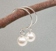 Tiny Hoop Earrings Sterling Silver with White by Alwaysabridesmade, $16.50