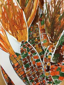 Indian corn grades and 3 (DREAM DRAW CREATE Art Lessons for Children) - angela ottosen - art therapy activities Thanksgiving Art Projects, Halloween Art Projects, Fall Art Projects, School Art Projects, Corn Drawing, Haunted House Drawing, Grade 1 Art, Grade 2, Dream Drawing