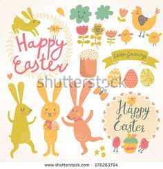 Bunny chalkboard httpwetymeysn easter extravaganza happy easter vector set in vector sweet rabbits eggs chicken text tasty cake in stylish colors concept holiday spring cartoon collection buy this negle Images