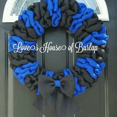 LEO wreath Blue line wreath Law Enforcement by Loveshouseofburlap