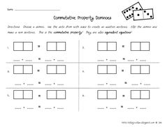 Here's an easy and fun center for your kids to practice the Commutative Property! Manipulating the dominoes will help build understanding of the Math concept! First Grade Addition, Math Addition, First Grade Classroom, Math Classroom, Classroom Ideas, Teaching Math, Teaching Ideas, Teacher Resources, Fun Math