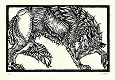 Wolf Original Linocut Print by JaneBeharrell
