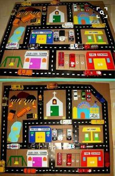 The Mom 4 My 2 Boys: Homemade toy: Ca. - The Mom 4 My 2 Boys: Homemade toy: Car (and Airport) Play Mat dari karton bekas Das schönste Bil - Car Play Mats, Car Mats, Diy For Kids, Crafts For Kids, Diy Karton, Felt Play Mat, Homemade Toys, Busy Book, Too Cool For School