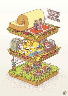 Birthday sandwish on Illustration Served