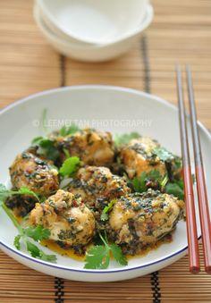 Coriander and Monk Fish Cheek stir fry