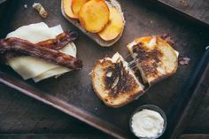 Peach Grilled Cheese with Bacon Whoever thought grilled cheese sandwiches were just for kids obviously never had this one! Layered with strips of crispy bacon, rich havarti cheese and sweet Georgia peaches, this grilled cheese is created especially for the adults. For a an extra-crunchy crust on the sandwiches, we like