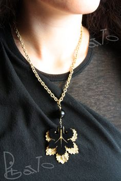 Double pendant Venice silk chain necklace, black and transparent resin with gold color bronze metal foil.