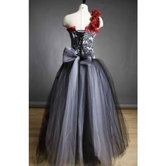 Custom Size Damask red rose Burlesque Corset Prom dress Small-XL ❤ liked on Polyvore featuring dresses, bone corset, red ruffle dress, ruffle prom dress, ruffle dress and rose dress