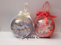 Tutorial: Decoupage e glitter su sfera di plastica (christmas decorations) [sub-eng]