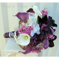 Wedding Bouquet Bridal Bouquets Plum Purple Calla Lily Orchid Bridal... (€135) via Polyvore featuring bouquets, decorations, grey and weddings
