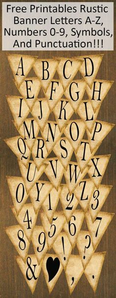 FREE Printables Rustic Banner Letters A-Z, Numbers 0-9, Punctuation, & Symbols!!!