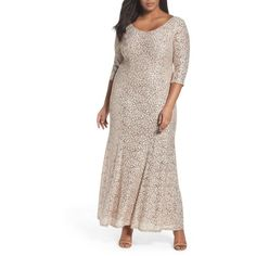 Plus Size Women's Alex Evenings Sequin Lace Fit & Flare Long Dress ($259) ❤ liked on Polyvore featuring plus size women's fashion, plus size clothing, plus size dresses, plus size, plus size sequin dress, sequined dresses, lace dress, floral dresses and long-sleeve fit and flare dresses