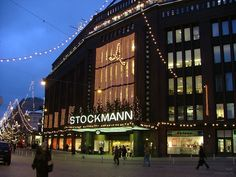The Stockmann department store is a culturally significant business building and department store located in the centre of Helsinki, Finland. Stockmann, Helsinki (largest department store in the Nordic countries--7 floors + basement)