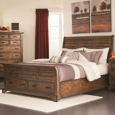 Queen+Sleigh+Bed+with+2+Drawers!+Warm+and+Rustic+look!+BEAUTIFUL!