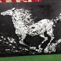 Running horse. Silver leaves. Oil. Jaana Kuutti 2017 Running Horses, Leaf Art, Horse Art, Leaves, Metal, Art