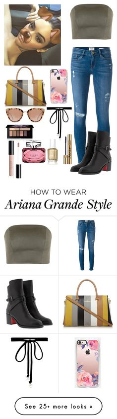 """Snap chatting with Kendall"" by joelene-garcia on Polyvore featuring Frame, Christian Louboutin, Casetify, Joomi Lim, Smashbox, Gucci, Essie and Yves Saint Laurent"