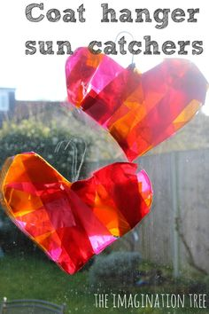 Wire Coat Hanger Heart Sun Catchers (from The Imagination Tree)