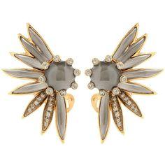 Oscar de la Renta Crystal-Embellished Clip-on Earrings ($395) ❤ liked on Polyvore featuring jewelry, earrings, grey, grey jewelry, clip earrings, clip on earrings, oscar de la renta earrings and oscar de la renta jewelry