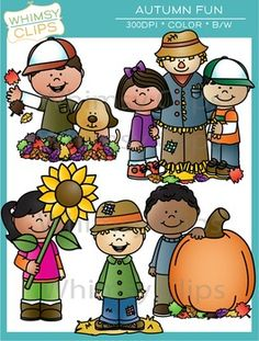 The Autumn Fun clip art set contains 8 unique Autumn illustrations. The Autumn clip art set includes 8 color images and 8 black & white images in png and jpg. All images are 300dpi for better scaling and printing. Whimsy Clips by Laura Strickland