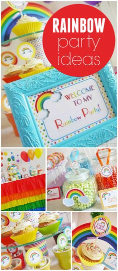 Such an amazing rainbow party! Balloons, candy jars and cupcakes! See more party planning ideas at CatchMyParty.com!