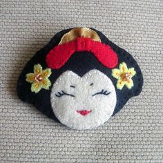 Handmade Embroidered JAPANESE Oriental GEISHA by kirakirahoshi, $12.00