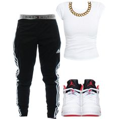 A fashion look from February 2015 featuring adidas activewear pants, Tommy Hilfiger panties and Club Manhattan necklaces. Browse and shop related looks. Cute Swag Outfits, Chill Outfits, Casual Outfits, Summer Outfits, Look Fashion, Teen Fashion, Fashion Outfits, Female Fashion, Fashion Clothes