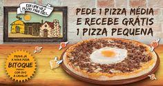 Era uma vez uma pizza para três... Oferta de 1 Pizza Na compra de uma pizza média com 3 ou mais ingredientes recebe grátis uma pizza pequena com 3 ingredientes.