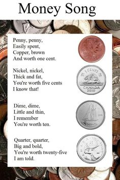 Teaching money through song, a fun and easy way to learn the value of each coin!