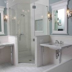 Shower door, Lighting--chandelier plus sconces