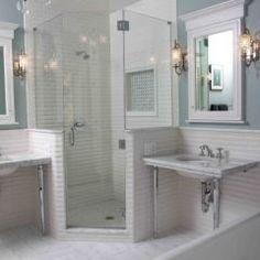 Shower door, Lighting--chandelier plus sconces
