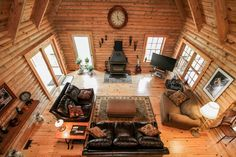 Looking down from upstairs in Log Home in Fredericksburg, vA