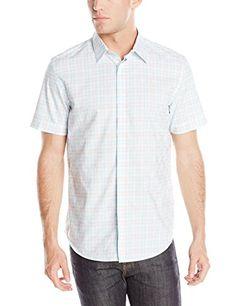Calvin Klein Mens Checkerboard Dobby Short Sleeve Woven Shirt, White, Large