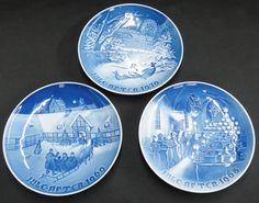 "B&G Christmas Plates Lot of 3 1968 Church 1969 Guests 1970 Pheasants Blue 7"""