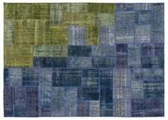 Blue Over Dyed Patchwork Unique Rug 8'2'' x 11'7'' ft 249 x 354 cm