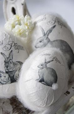 hummm, could decoupage pictures out of old books for the bunnies...