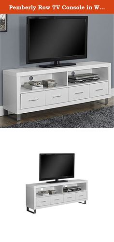 "Pemberly Row TV Console in White with Drawers. Complete your home décor with the simple contemporary elegance of this bright white 60"" TV console. Featuring 4 spacious storage drawers for your entertainment accessories and 2 open storage shelves for your electronic components, this piece is the perfect blend of fashion and functionality. Sleek track metal legs and silver colored drawer handles provide a modern look that makes this console a must have in any home. Features: Color: white;..."